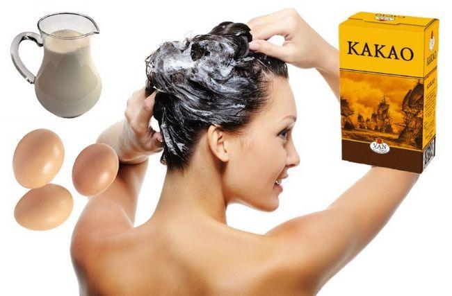 Маска для волосся з кефіром, яйцем і какао