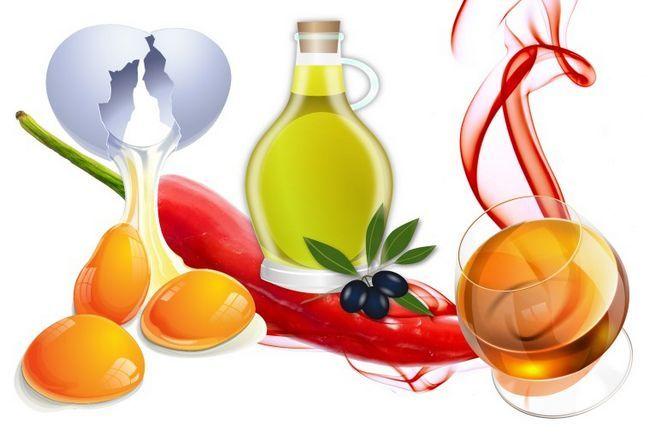 Компоненти маски для волосся: яйце, масло, червоний перець і коньяк